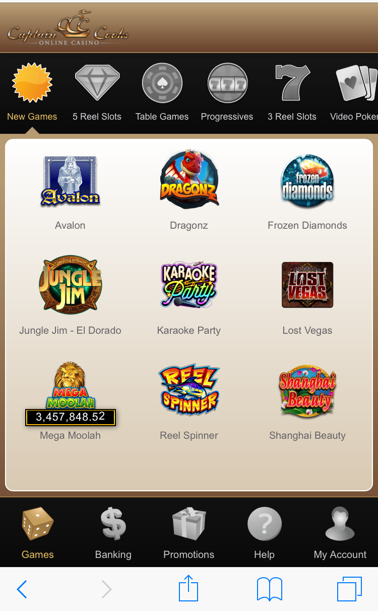 captain cooks casino mobile login
